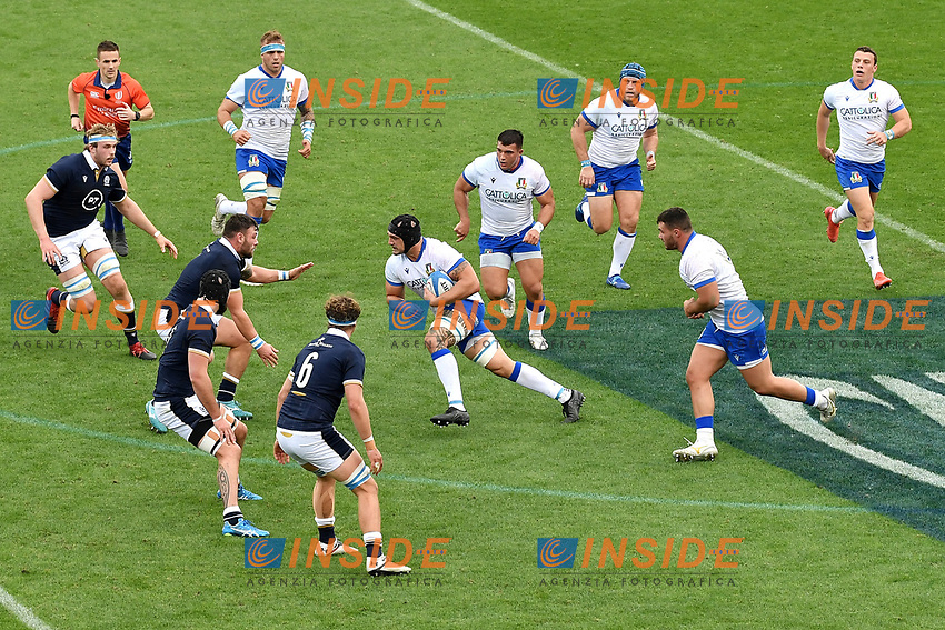 Marco Lazzaroni of Italy ( black helmet ) in action during the rugby Autumn Nations Cup's match between Italy and Scotland at Stadio Artemio Franchi on November 14, 2020 in Florence, Italy. Photo Andrea Staccioli / Insidefoto