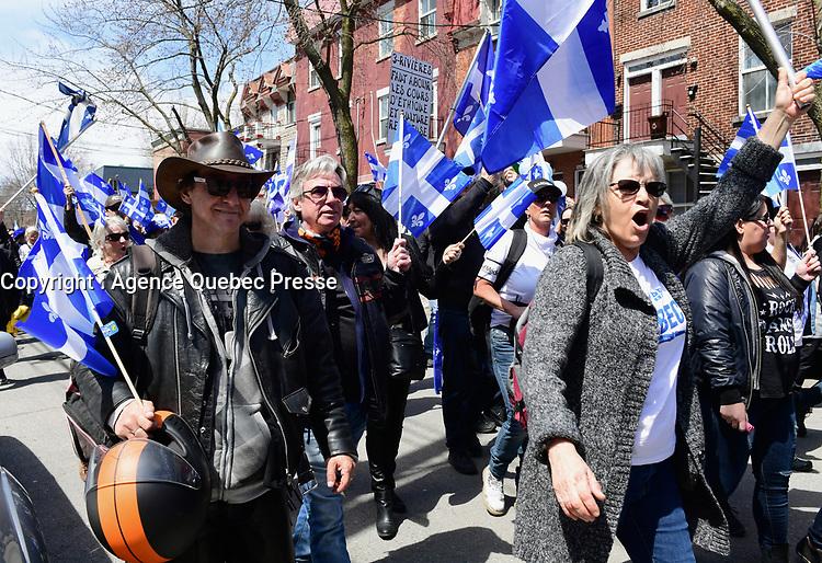 Manifestation en faveur de la loi pro-laicite, le 4 mai 2019<br /> <br /> PHOTO : Agence Quebec Presse