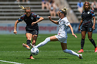 BRIDGEVIEW, IL - JUNE 5: Rachel Hill #5 of the Chicago Red Stars passes the ball as Denise O'Sullivan #8 of the North Carolina Courage defends during a game between North Carolina Courage and Chicago Red Stars at SeatGeek Stadium on June 5, 2021 in Bridgeview, Illinois.