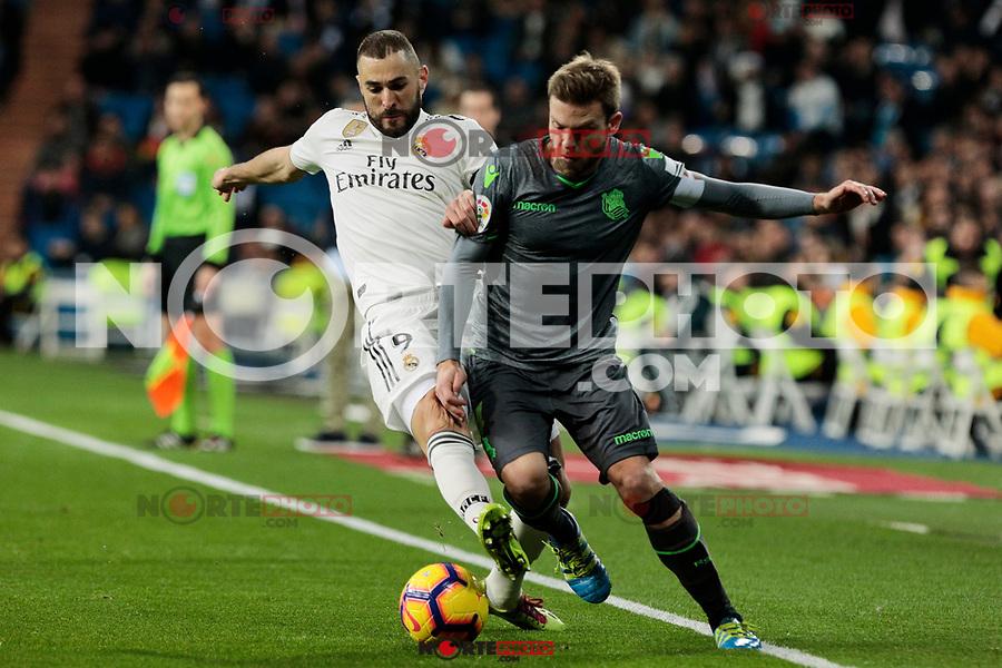 Real Madrid's Karim Benzema and Real Sociedad's Asier Illarramendi during La Liga match between Real Madrid and Real Sociedad at Santiago Bernabeu Stadium in Madrid, Spain. January 06, 2019. (ALTERPHOTOS/A. Perez Meca)<br />  (ALTERPHOTOS/A. Perez Meca) /NortePhoto.com