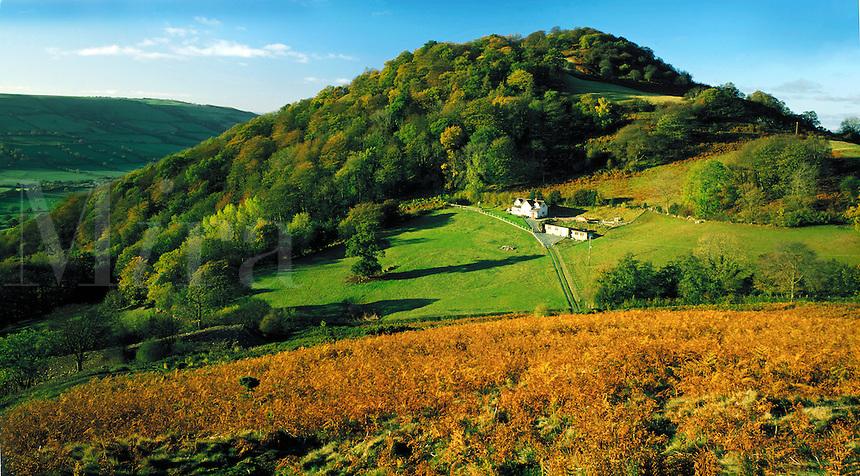 Cottage at Moel y Golfa on the Welsh-English border near Welshpool.