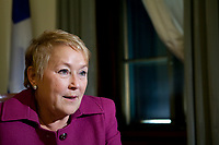 PQ leader and Quebec Premier Pauline Marois gestures during a sit down interview with Globe and Mail reporter at her office in Quebec City Thursday November 15, 2012. The PQ is on track to deliver a Fall budget, soon after the September 4 election.<br /> <br /> PHOTO :  Francis Vachon - Agence Quebec Presse