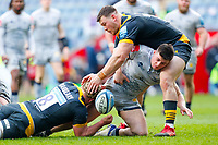 27th March 2021; Ricoh Arena, Coventry, West Midlands, England; English Premiership Rugby, Wasps versus Sale Sharks; Raffi Quirke of Sale Sharks spills the ball in a tackle