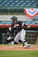 Jupiter Hammerheads Victor Victor Mesa (32) singles for his first professional hit during a Florida State League game against the Florida Fire Frogs on April 8, 2019 at Osceola County Stadium in Kissimmee, Florida.  Florida defeated Jupiter 7-6 in ten innings.  (Mike Janes/Four Seam Images)