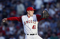 John Lackey of the Los Angeles Angels pitches during a 2002 MLB season game at Angel Stadium, in Anaheim, California. (Larry Goren/Four Seam Images)