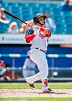 22 July 2018: Syracuse SkyChiefs outfielder Yadiel Hernandez in action against the Louisville Bats at NBT Bank Stadium in Syracuse, NY. The Bats defeated the Chiefs 3-1 in AAA International League play. Mandatory Credit: Ed Wolfstein Photo *** RAW (NEF) Image File Available ***