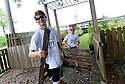 Tulane students Dennis Clutter and Alexa Casale volunteer in the Lower Ninth Ward with the Common Ground Relief Wetlands, 2016.