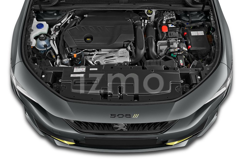 Car Stock 2021 Peugeot 508-SW PSE-PHEV 5 Door Wagon Engine  high angle detail view
