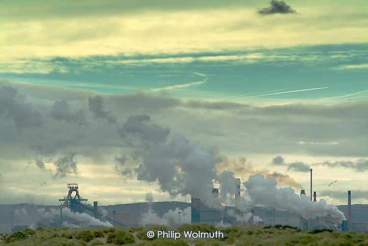 Smoke rises from the Corus steelworks in Redcar