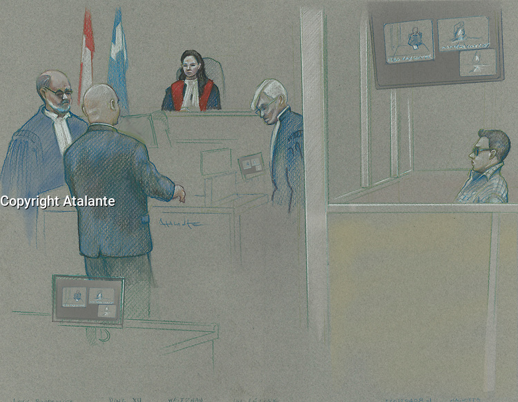 Montreal - CANADA - File images -  An artist's sketch shows Luka Rocco Magnotta appearing in court for his preliminary hearing in Montreal for the murder of Lin Jun,, April 8, 2013.<br /> <br /> It is one of the most grisly and sensational murder trials in Canadian history<br /> <br /> Image :  Agence Quebec Presse  - Atalante