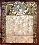 Calendrier revolutionnaire (republicain) de 1793 et 1794 avec en haut dans le medaillon une allegorie de la justoce  ---  republican calendar 1793 - 1794 with an allegory of the justice