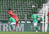 18th May 2020, WESERSTADION, Bremen, Germany; Bundesliga football, Werder Bremen versus Bayer Leverkusen;  Kai Havertz Leverkusen climbs above Theodor Gebre Selassie of Bremen to win the header and  score for 0-1 to Leverkusen