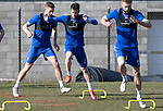St Johnstone Training...19.03.21<br />From left, Liam Gordon, Guy Melamed and Shaun Rooney pictured during training at McDiarmid Park ahead of tomorrows game against Ross County.<br />Picture by Graeme Hart.<br />Copyright Perthshire Picture Agency<br />Tel: 01738 623350  Mobile: 07990 594431
