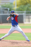 Matt Loosen of the Chicago Cubs pitches during a Minor League Spring Training Game against the Los Angeles Angels at the Los Angeles Angels Spring Training Complex on March 23, 2014 in Tempe, Arizona. (Larry Goren/Four Seam Images)