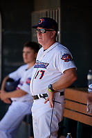 Jacksonville Jumbo Shrimp hitting coach Sean Berry (17) during a Southern League game against the Tennessee Smokies on April 29, 2019 at Baseball Grounds of Jacksonville in Jacksonville, Florida.  Tennessee defeated Jacksonville 4-1.  (Mike Janes/Four Seam Images)