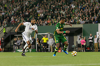 Portland, Oregon - Wednesday September 25, 2019: Jeremy Ebobisse #17 dribbles the ball during a regular season game between Portland Timbers and New England Revolution at Providence Park on September 25, 2019 in Portland, Oregon.