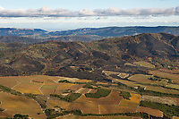 aerial photograph of Napa Valley vineyards towards a portion of the Atlas Fire, Napa County, California, northern California wildfires, 2017.