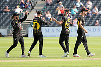 Matt Taylor of Gloucestershire celebrates with his team mates after taking the wicket of Adam Wheater during Gloucestershire vs Essex Eagles, Royal London One-Day Cup Cricket at the Bristol County Ground on 3rd August 2021