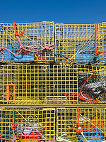 Lobster traps (pots) in storage in Rockland, Maine
