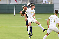 CARY, NC - AUGUST 01: Jonathan Dean #24 and Robert Kristo #11 challenge for a header during a game between Birmingham Legion FC and North Carolina FC at Sahlen's Stadium at WakeMed Soccer Park on August 01, 2020 in Cary, North Carolina.