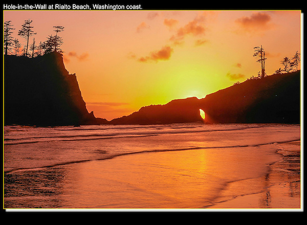 Save your time and energy for afternoons and sunsets. Much better light than the mornings.<br /> Hole-in-the-Wall at sunset, Rialto Beach, La Push, Washington. John offers private photo tours in Washington and throughout Colorado. Year-round.