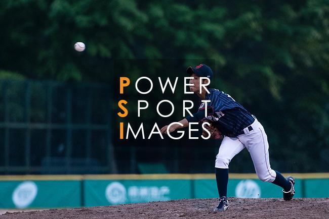 #18 Imai Hana of Japan serves during the BFA Women's Baseball Asian Cup match between Pakistan and Japan at Sai Tso Wan Recreation Ground on September 4, 2017 in Hong Kong. Photo by Marcio Rodrigo Machado / Power Sport Images
