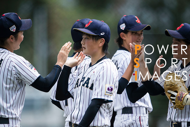 #19 Himeno Mayu of Japan (C) during the BFA Women's Baseball Asian Cup match between Japan and Hong Kong at Sai Tso Wan Recreation Ground on September 5, 2017 in Hong Kong. Photo by Marcio Rodrigo Machado / Power Sport Images