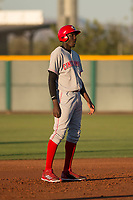 AZL Reds right fielder Edwin Yon (54) takes a lead off second base during an Arizona League game against the AZL Cubs 2 at Sloan Park on June 18, 2018 in Mesa, Arizona. AZL Cubs 2 defeated the AZL Reds 4-3. (Zachary Lucy/Four Seam Images)