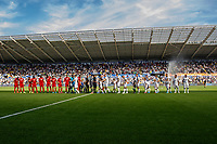 Swansea Mascots with players during the Sky Bet Championship match between Swansea City and Nottingham Forest at the Liberty Stadium in Swansea, Wales, UK. Saturday 14 September 2019
