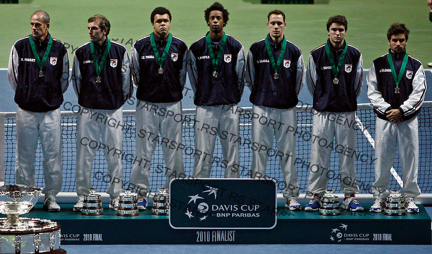 French  Davis Cup team during closing ceremony of Davis Cup finals, Serbia vs France in Belgrade Arena in Belgrade, Serbia, Sunday, 5. December 2010. Serbia has won 3:2 their first Davis Cup title.(credit & photo: Pedja Milosavljevic/SIPA PRESS)