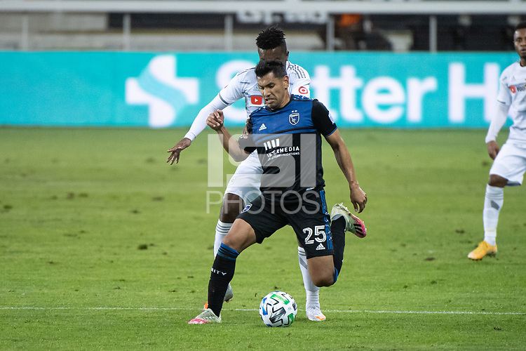SAN JOSE, CA - NOVEMBER 04: Andy Rios #25 of the San Jose Earthquakes defends the ball during a game between Los Angeles FC and San Jose Earthquakes at Earthquakes Stadium on November 04, 2020 in San Jose, California.