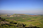 Israel, Lower Galilee, a view of Arbel valley from Horns of Hattin, Mount Nitai and Mount Arbel on the left, Tiberias by the Sea of Galilee on the right