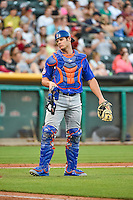 Anthony Recker (40) of the Las Vegas 51s during the game against the Salt Lake Bees in Pacific Coast League action at Smith's Ballpark on June 25, 2015 in Salt Lake City, Utah.  (Stephen Smith/Four Seam Images)