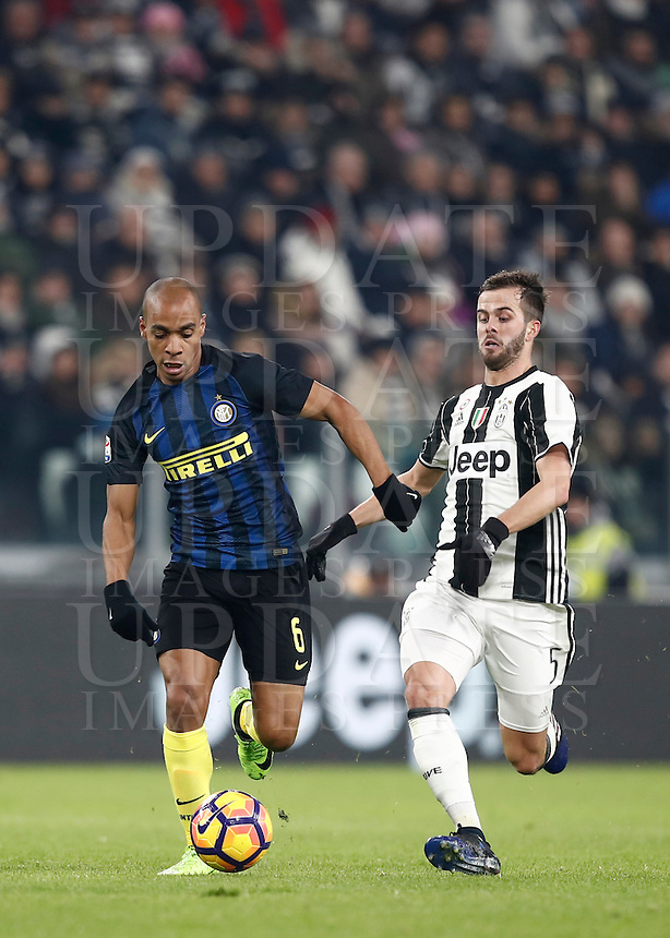 Calcio, Serie A: Torino, Juventus Stadium, 5 febbraio 2017.<br /> Inter Milan's Eduardo Joao Mario (l) in action with Juventu's Miralem Pjanic (r) during the Italian Serie A football match between Juventus and Inter Milan at Turin's Juventus Stadium, on February 5, 2017.<br /> UPDATE IMAGES PRESS/Isabella Bonotto