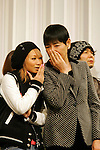 """Tokyo, Dec. 30, 2009 - Kumi KODA (L) and Akiko WADA (R) are photographed during the second day of rehearsals for 'Kohaku Uta Gassen,' or also more commonly known as 'Kohaku.' Produced by the Japanese public broadcaster, NHK, this annual music show airs on New Year's Eve and ends shortly before midnight, where everyone on air pauses to say """"Happy New Year."""" The 'Red and White Song Battle' separates the most popular music artists during each given year into teams of red and white: the red team consists of all female artists and the white team is all male artists. For an artist to perform on Kohaku, it is a great honor as only the most successful enka singers and J-Pop artist are strictly invited to perform by invitation only. Today, for a J-Pop artist or enka singer to perform on Kohaku, is most notably recognized to be a big highlight in a singer's career due to the show's large reach of audience during New Year's Eve."""