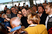 Matteo Salvini taking a selfie with a woman during his usual crowd bath<br /> Rome February 16th 2020. Convention 'Salvini meets Rome'.<br /> Foto Samantha Zucchi Insidefoto