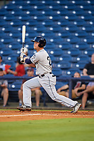 Mobile BayBears first baseman Matt Thaiss (21) hits a single during a game against the Mississippi Braves on May 7, 2018 at Trustmark Park in Pearl, Mississippi.  Mobile defeated Mississippi 5-0.  (Mike Janes/Four Seam Images)