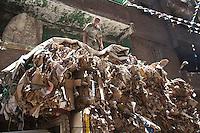 2011 Mokattam Garbage City (alla periferia del Cairo) il quartiere copto dove si vive in mezzo alla spazzatura raccolta: un raccoglitore sopra a cataste di carta.<br /> The Coptic Cairo where people live in the middle of the garbage: a collector on top of piles of paper