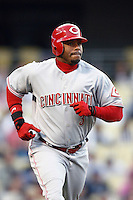 Ken Griffey jr of the Cincinnati Reds during a game against the Los Angeles Dodgers in a 2007 MLB season game at Dodger Stadium in Los Angeles, California. (Larry Goren/Four Seam Images)