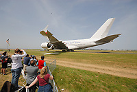 Germany- May 29 2008 File Photo -<br /> <br /> <br /> People watch A380 connected to tractor<br />  during ILA 2008.