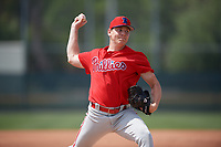 Philadelphia Phillies Spencer Howard (15) during a minor league Spring Training game against the Pittsburgh Pirates on March 13, 2019 at Pirate City in Bradenton, Florida.  (Mike Janes/Four Seam Images)