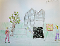 """Happy to Move to the Side"" Drawing by Ella Lodewyckx, Grade 4, Yarmouth, ME, USA"