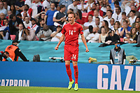 7th July 2021, Wembley Stadium, London, England; 2020 European Football Championships (delayed) semi-final, England versus Denmark;  Mikkel DAMSGAARD DEN celebrates after his goal for 0-1 from a direct free kick