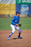 Moises Perez (6) of the Ogden Raptors on defense against the Idaho Falls Chukars in Pioneer League action at Lindquist Field on July 2, 2017 in Ogden, Utah. Ogden defeated Idaho Falls 6-5. (Stephen Smith/Four Seam Images)