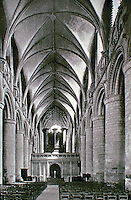 Historical photo of Gloucester Cathedral in Gloucester, England. It stands in the north of the city near the River Severn.