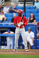 Palm Beach Cardinals second baseman Darren Seferina (8) at bat during a game against the Dunedin Blue Jays on April 15, 2016 at Florida Auto Exchange Stadium in Dunedin, Florida.  Dunedin defeated Palm Beach 8-7.  (Mike Janes/Four Seam Images)