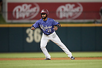Frisco RoughRiders Eliezer Alvarez (10) leads off during a Texas League game against the Springfield Cardinals on May 4, 2019 at Dr Pepper Ballpark in Frisco, Texas.  (Mike Augustin/Four Seam Images)