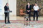 The reception of Prime Minister Mariano Rajoy to Spain national basketball team gold at EuroBasket 2015 at Moncloa Palace in Madrid, 21 September, 2015.<br /> FEB president Jose Luis Saez, Prime Minister Mariano Rajoy and Coach Sergio Scariolo.<br /> (ALTERPHOTOS/BorjaB.Hojas)