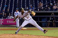 Bradenton Marauders pitcher Oliver Mateo (43) delivers the final pitch during Game Three of the Low-A Southeast Championship Series against the Tampa Tarpons on September 24, 2021 at George M. Steinbrenner Field in Tampa, Florida.  (Mike Janes/Four Seam Images)
