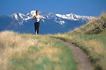 Jogger on Mount Sentinel trails above Missoula, Montana